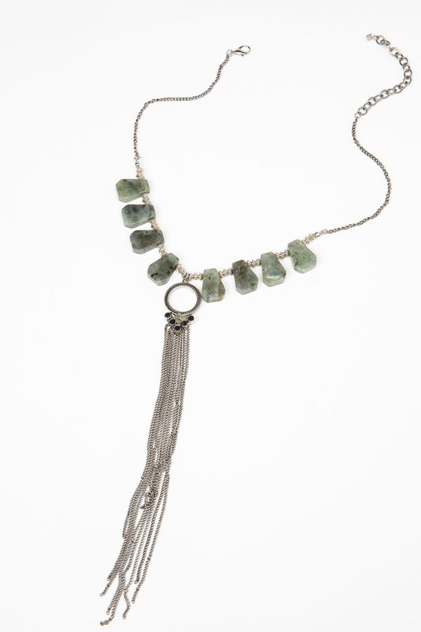 Tumbling Like Tumbleweeds Fringe Necklace - Silver