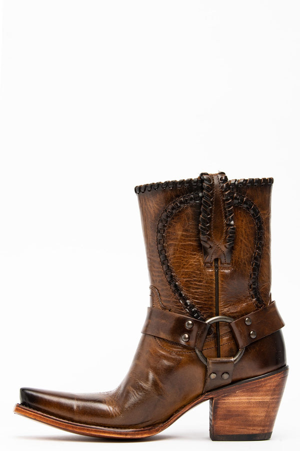 Stomp Western Boots - Snip Toe - Medium Brown