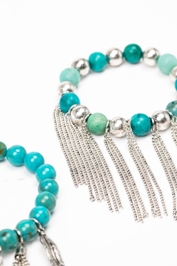 Callin' It Off Fringe Bracelet Set - Turquoise