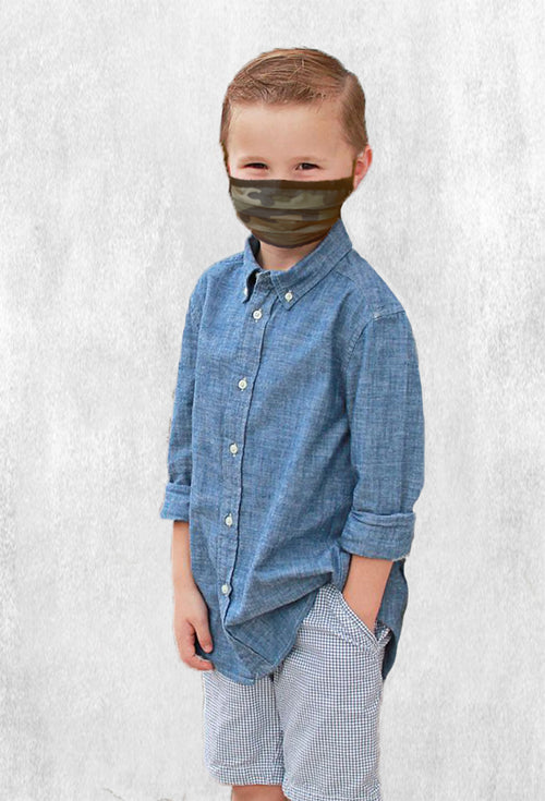 Machine Morris Park Face M-Cover for Kids - Camo Print (2 Masks Pack) w/adjustable stopper
