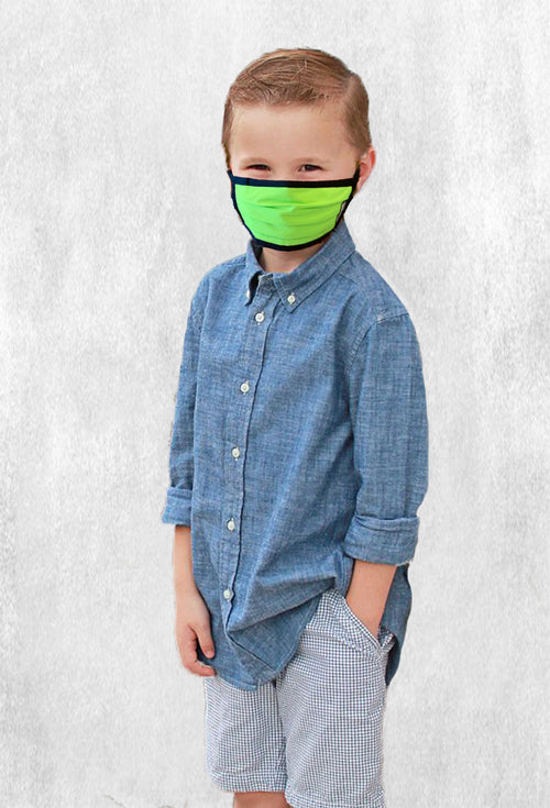 Machine Morris Park Face M-Cover for Kids - Neon Green (2 Masks pack) w/adjustable stopper