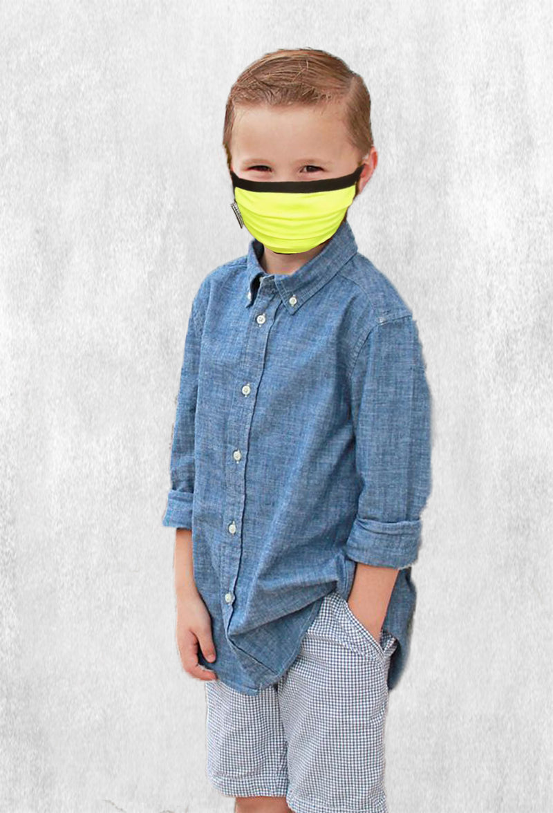 Machine Morris Park Face M-Cover for Kids - Neon Yellow (2 masks pack) w/adjustable stopper