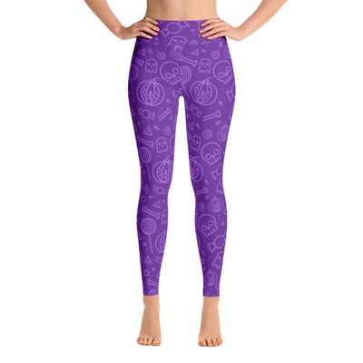 Purple Halloween Craziness Theme Yoga Leggings