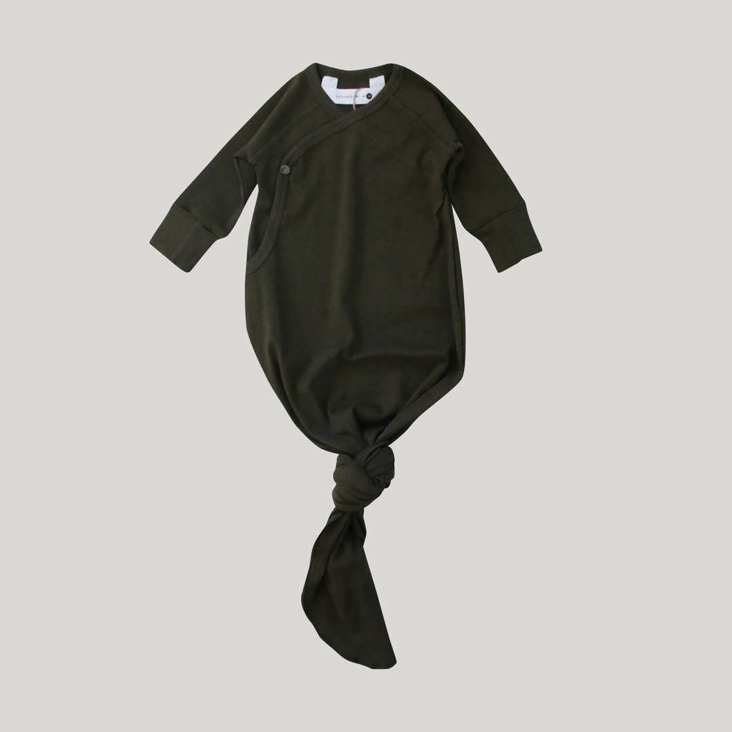 Susukoshi Knotted Gown - Olive - Knotty Tot