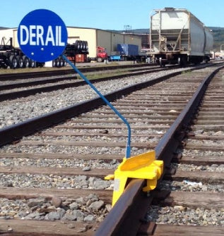 898020-601-01R Portable High Speed Derails, Yellow, Right Hand Throw, Blue Derail Flag Included