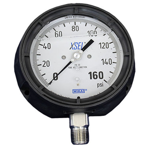 "wika xsel 4.5"" face 1/2"" NPT liquid filled pressure gauge 50238795 railyardsupply.com"
