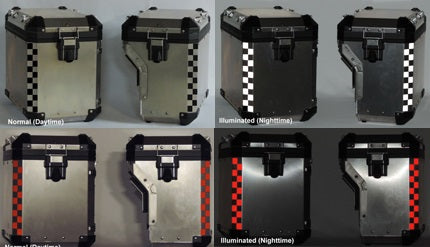 MotoEquip BMW Aluminum Pannier Checker Reflective Kit