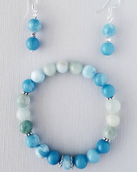 Aquamarine bracelet and earrings for Protection, Energy & Love