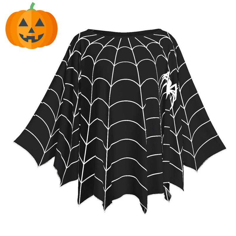 17b71034a35 Halloween Spider Web Printed Plus Size Poncho Blouse – Queen Size Zone