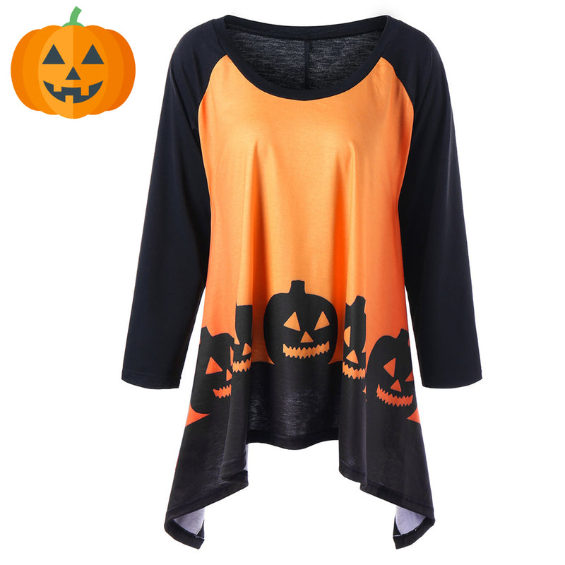 74addccfd25 Plus Size Halloween Pumpkin Moon Lace Panel T-shirt – Queen Size Zone