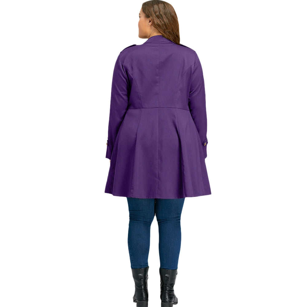 42403c5237b0a Plus Size Double Breasted Flare Coat – Queen Size Zone