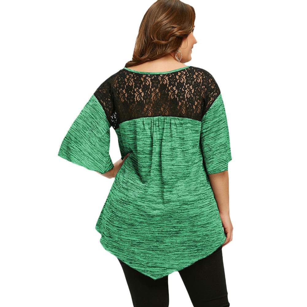 79e01016c9863 Asymmetrical Plus Size Flare Sleeve Tunic T-shirt – Queen Size Zone