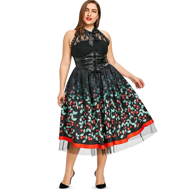 Plus Size Vintage Cherry Dress Queen Size Zone