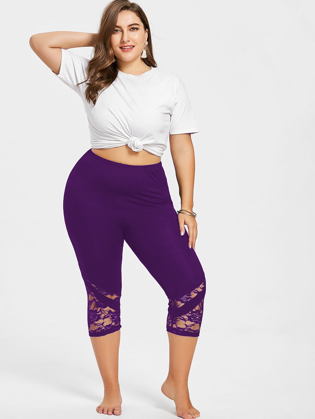 47b7112135b Plus Size Lace Trim Capri Leggings – Queen Size Zone