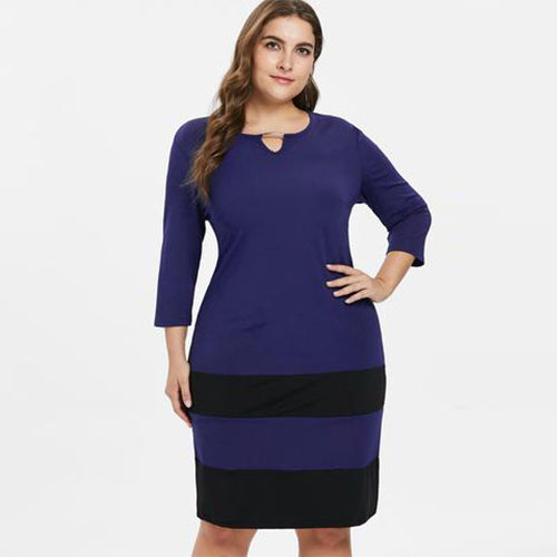 c360788664d Plus Size Two Tone Striped Dress – Queen Size Zone