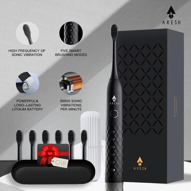 Black Business Electric Toothbrush ARESH L1 Smart Rechargeable Sonic Toothbrush 5 Mode Adult IPX7 Automatic Ultrasonic Brush