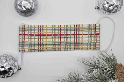 Metallic Christmas Plaid // Adult Face Mask - REGULAR