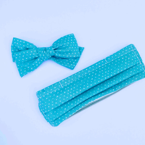 Totally Teal // Kids Face Mask + Bow Combo
