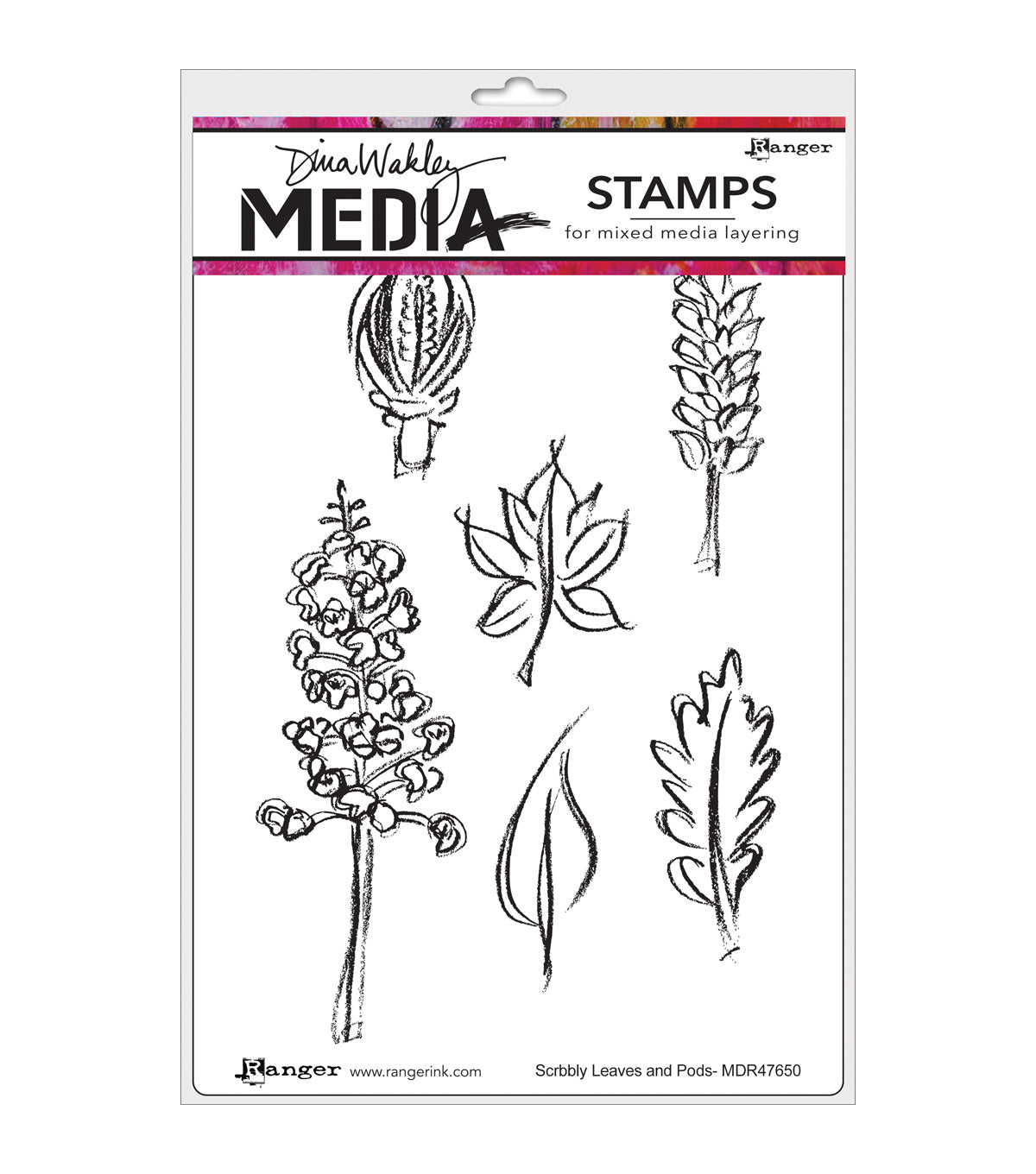 Dina Wakley Media Cling Stamps - Scribbly Leaves and Pods MDR47650