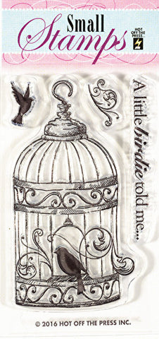 *CLEARANCE* Hot Off The Press Small Silicone Stamps - Bird in a Cage