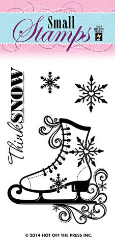 *CLEARANCE* Hot Off The Press Small Silicone Stamps - Ice Skate