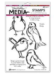 Dina Wakley Media Cling Stamps - Scribbly Birds MDR41320
