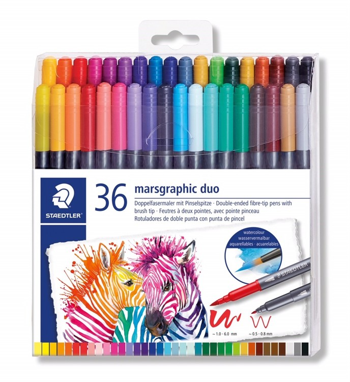 Staedtler Marsgraphic Duo Brush Marker Watercolour Pens 36 Colours