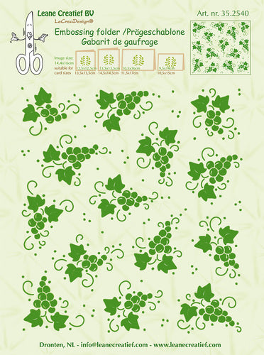 Leane Creatief BV Background Grapes Embossing Folder