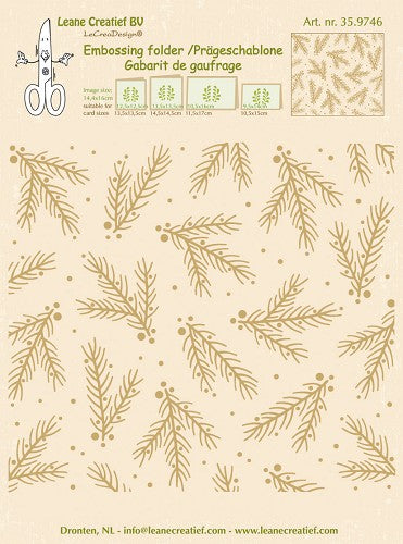 Leane Creatief BV Christmas Branches Embossing Folder