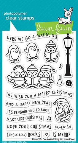"Lawn Fawn ""Here We Go A-Waddling"" Clear Stamps"