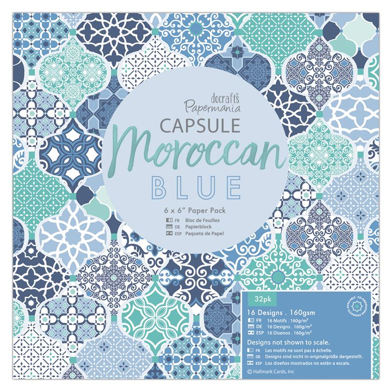 "Docrafts Papermania Capsule Moroccan Blue 6 x 6"" Paper Pad"