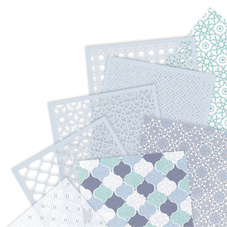 Docrafts Papermania Capsule Moroccan Blue A4 Vellum and Laser Cut Paper Pack - 16 pcs