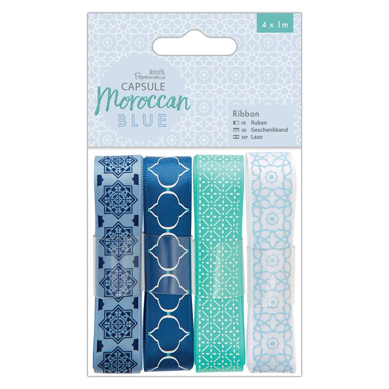 Docrafts Papermania Capsule Moroccan Blue Satin Ribbon 4 x 1m