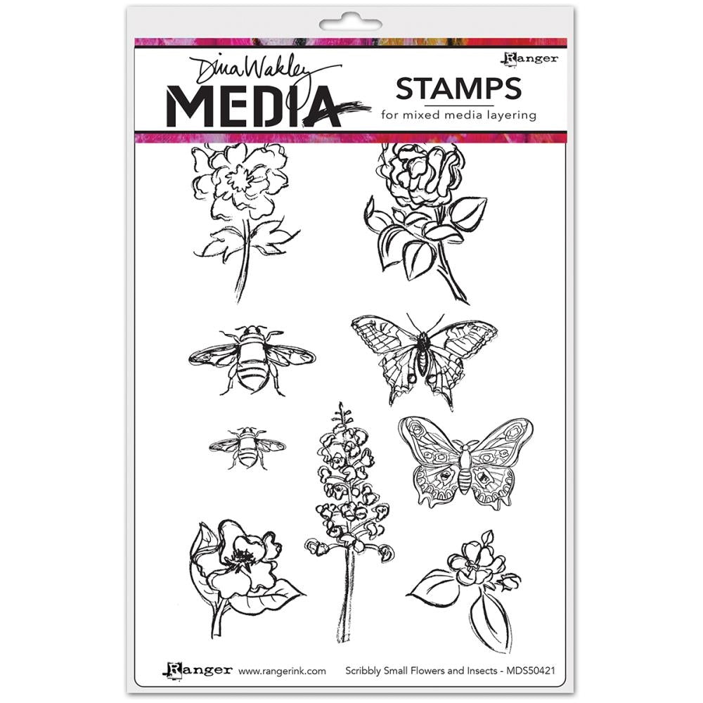 Dina Wakley Media Cling Stamps - Scribbly Small Flowers and Insects MDR50421