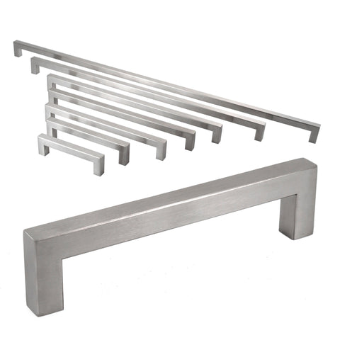 Celeste Square Bar Pull Cabinet Handle Brushed Nickel Stainless Steel 12mm, 24""