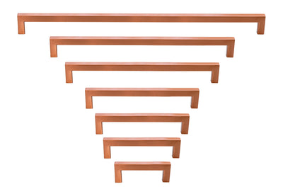 Celeste Square Bar Pull Cabinet Handle Copper Stainless Steel 12mm, 24""
