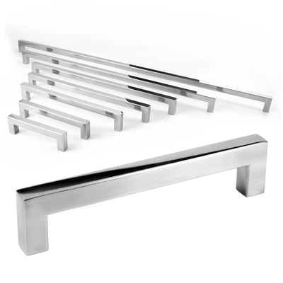 Celeste Square Bar Pull Cabinet Handle Polished Chrome Stainless Steel 12mm, 24""