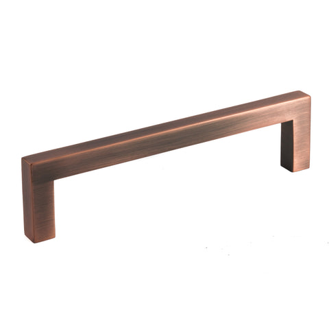 "Antique Copper Zinc Square Bar Pull Cabinet Pull Handle - Sizes 5"" to 10"" - (3/8"" Thickness)"