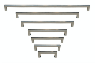 "Outdoor Use Powder Coated Brushed Nickel Square Bar Pull Cabinet Handle - Sizes 4"" to 24"" - (1/2"" Thickness)"