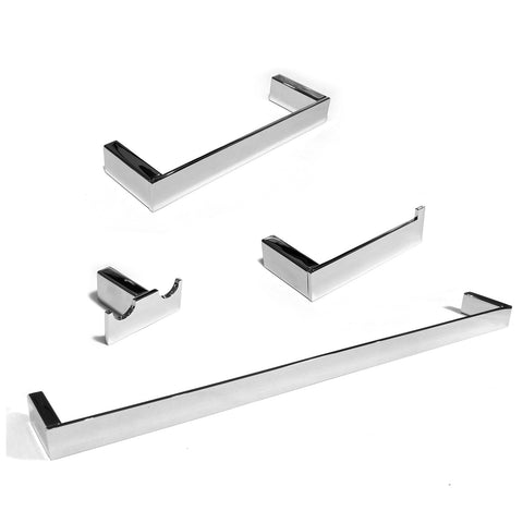Platinum 4-Pc Set Wall-Mounted Bathroom Accessories Polished Chrome