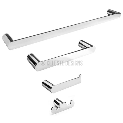 Sapphire 4-Pc Set Wall-Mounted Bathroom Accessories Polished Chrome