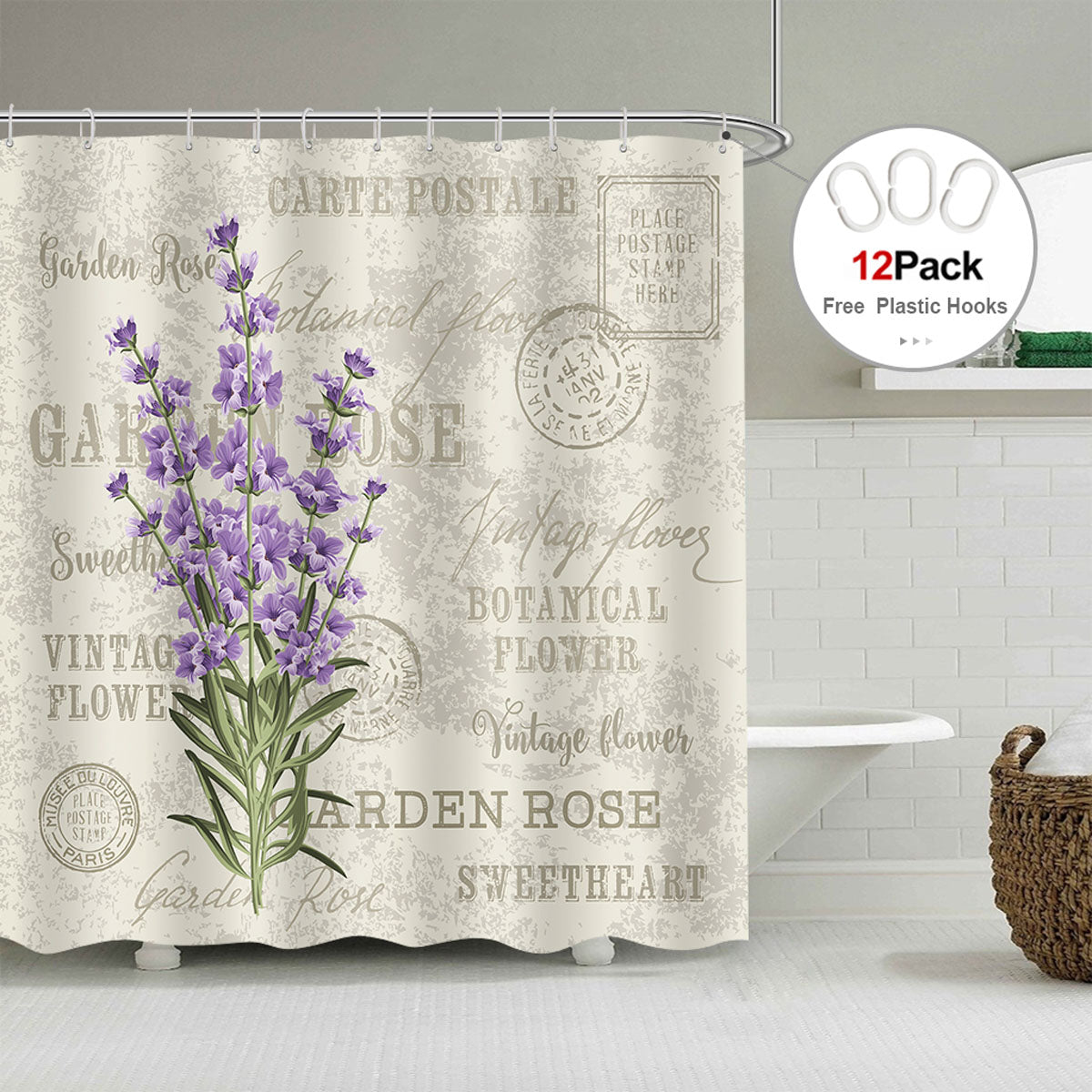 Riyidecor Lavender Vintage Postcard Shower Curtain Weighted
