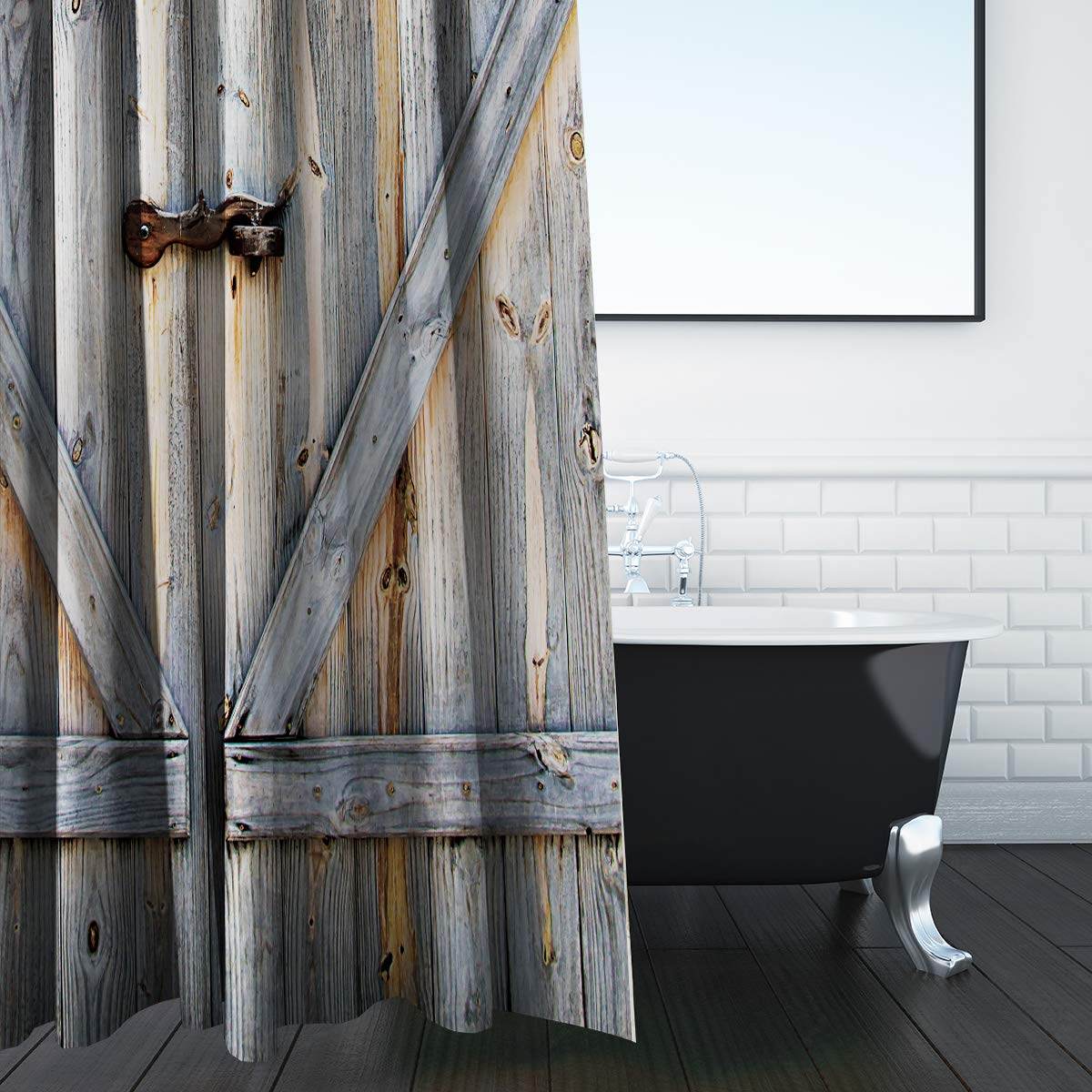 Rustic Shower Curtain Barn Door Wooden Barnwood Farmhouse