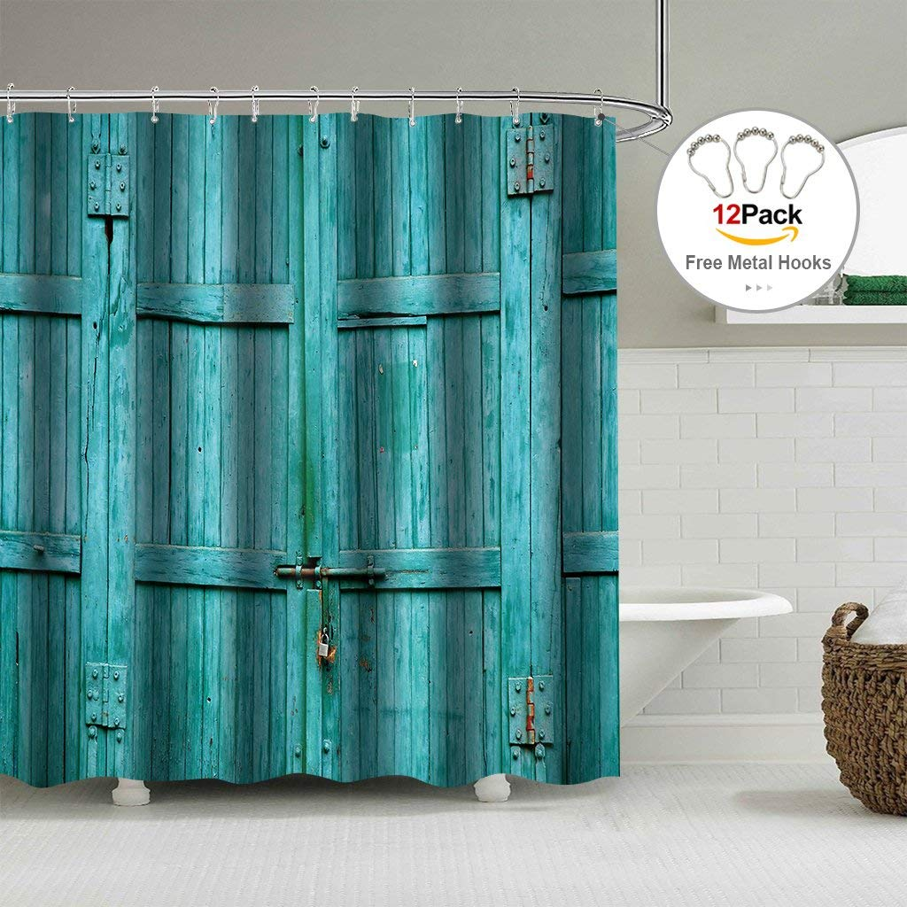 Rustic Barn Door Turquoise Shower Curtain 72x78 Vintage
