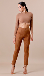 """NINA"" Suede Bodycon Pants - Camel"