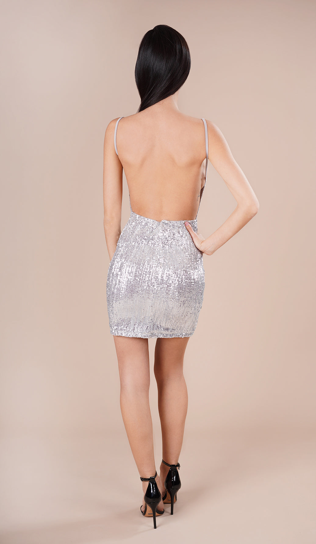 'KAYLA' Sequin Mini Dress - Silver - GLAMBAE FASHION