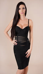 'GIANNA' Slit Bandage Dress - Black - GLAMBAE FASHION