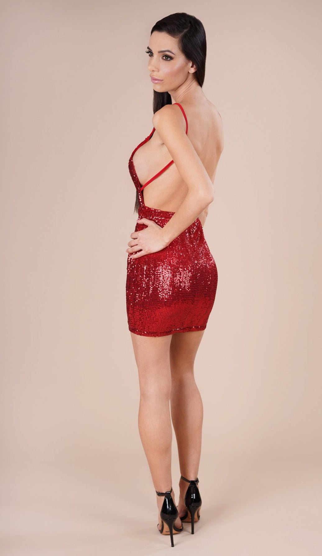 'KAYLA' Sequin Mini Dress - Red - GLAMBAE FASHION