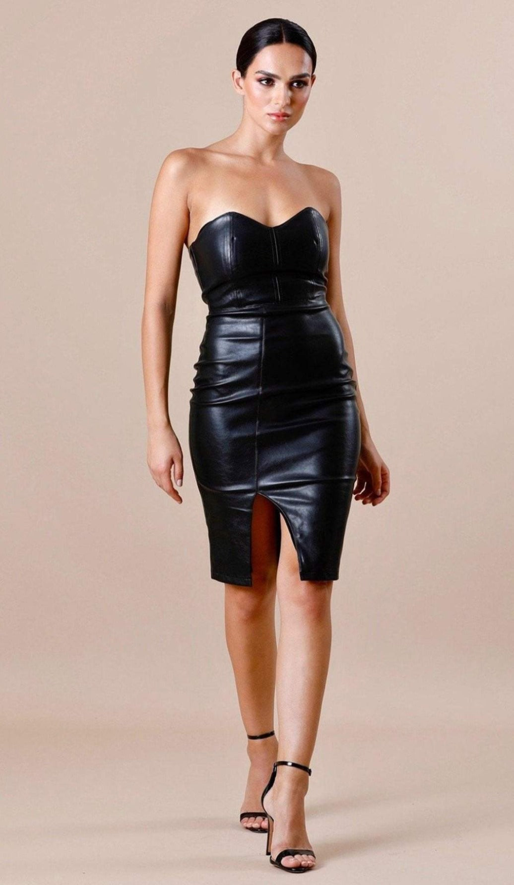 Leather black dresses exclusive photo