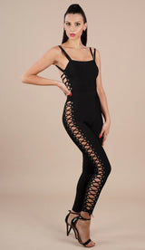 """HAILEE""  Bandage Lace-Up Jumpsuit - GLAMBAE FASHION"